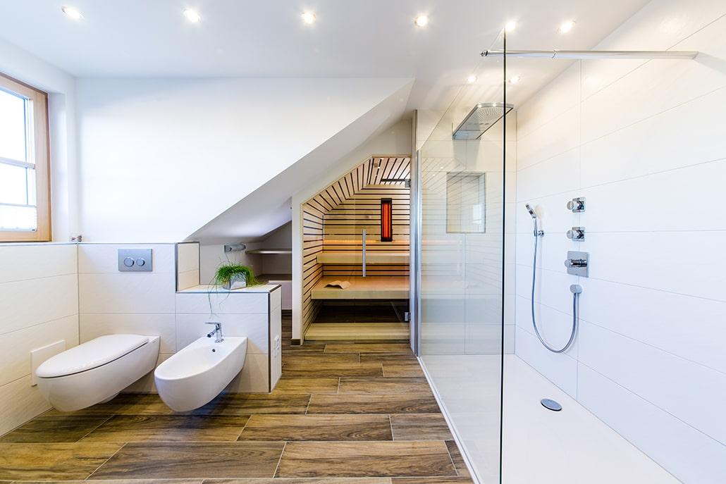 Sauna im Badezimmer klein